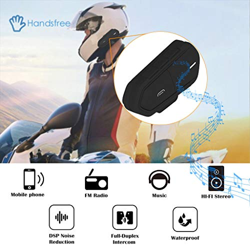 Dkings Bluetooth für Motorrad Helm Headset, Wireless Intercom Interphone, Walkie-Talkie unterstützt FM Radio GPS Voice Command Musik Hands-Free für Reiter