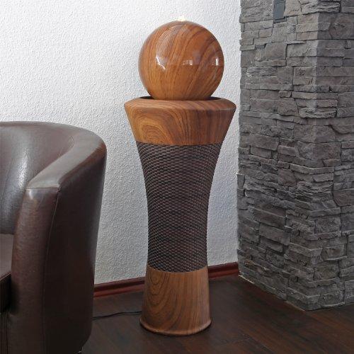 floristikvergleich.de Design Springbrunnen DSB9 mit Holzdekor und LED Beleuchtung Holz Zimmerbrunnen Zimmerspringbrunnen für Terrasse Balkon Garten