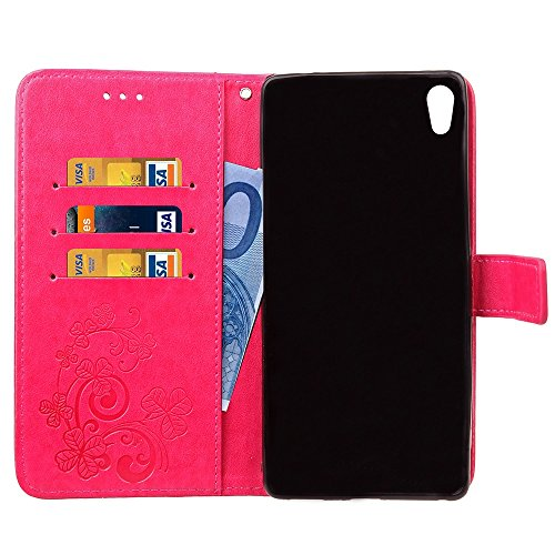 EKINHUI Case Cover Double Magnetic Back Sucktion Retro Style PU Leder Flip Stand Case mit Kickstand und Wallet Beutel Funktion für Sony Xperia C6 ( Color : Rose ) Rose