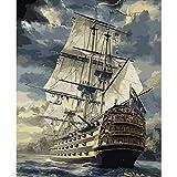 DAMENGXIANG DIY Handgemalten Nummern Oil Painting Kits Marine Grosses Segelschiff Abstrakte Kunst Bilder Für Wohnzimmer Home Decor 40 × 50 cm Mit Rahmen