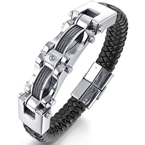 Mendino Bikerarmband für Herren, zweistrangiger Stahldraht, schwarzes Leder, Verschluss aus Edelstahl, 21,6cm