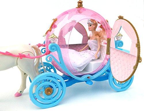 ✨ Brigamo 601841 – Elektrische Märchen Prinzessin Kutsche in Kürbisform mit Sound, Beleuchtung und Elektrischem Pferd ✨ - 3