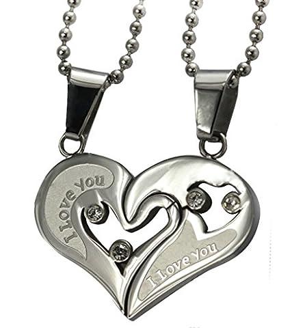 Daesar Versilbert Halskette mit Anhänger Herz Zirkonia Anhänger Kette für Damen (Amethyst Hängende Uhr)