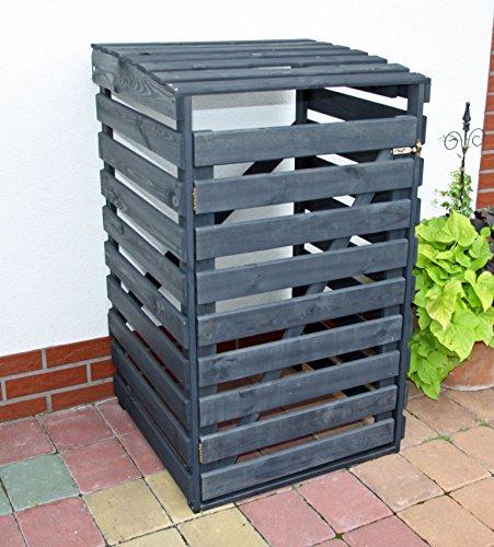 Mülltonnenbox schwarz f. 1 Tonne 120L FSC Holz Verkleidung Mülltonnenverkleidung