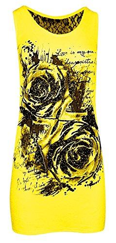 Womens Ladies dentelle dos Sequin Rose imprimé gilet Top Jaune
