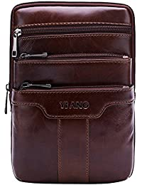 Leathario bolso de hombre de piel sintética bandolera pequeña bolso mensajero de cuero de hombro para caballeros de tipo casual messenger bag de color marrón