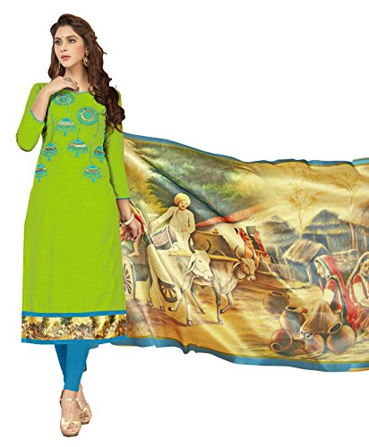 Priyavadhu Women's Slub Cotton straight Unstitched Salwar kameez Dress material (BLMHR1004_Light Green_Free...