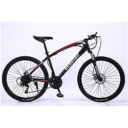 """KXDLR MTB 24 Marchas para Hombre Duro-Cola MTB 26"""" Y Neumáticos De 17 Pulgadas Suspensión Tenedor Capítulo con Bloqueo Mecánico De Bicicletas De Doble Freno De Disco,Negro,30 Speed"""