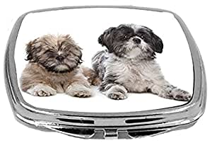 Rikki Knight Compact Mirror, Lhasa Apso and a Shih Tzu