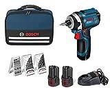 Bosch 0615990GB2 - Set atornillador de impacto con accesorios, 2 baterías y cargador (12 V)