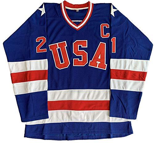 mpic Hockey # 21 Mike Eruzione # 17 O'Callahan # 30 Jim Craig Miracle On Ice USA Trikot Weiß Blau, 21 Blau, XX-Large ()