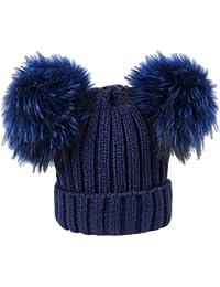 BrillaBenny Cappello Cuffia Blu Navy Doppio PON PON Vera Pelliccia Modello  Topolino (Ragazza 0c11b124670f