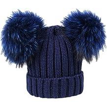 BrillaBenny Cappello Cuffia Blu Navy Doppio PON PON Vera Pelliccia Modello  Topolino (Ragazza fa639cd7d8b1
