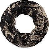 styleBREAKER Loop Schlauchschal mit Batik Muster, Vintage washed Look, Schal, Tuch, Unisex 01017041, Farbe:Schwarz-Beige