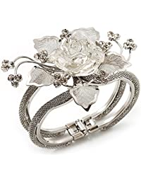 Chic Transparent Resin Diamante Rose Hinged Bangle Bracelet (Silver Tone Finish)