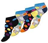 Vincent Creation 8 Paar knallig bunt gepunktete Damen Sneaker-Socken DOT`S