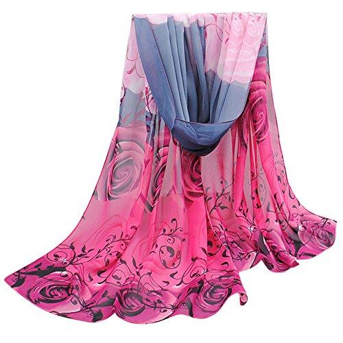 OverDose Frauen Elegant schöne Rose Muster Damen Chiffon Schal Wraps Schals Halstuch Tücher Schlauchschal,A-Hot Pink