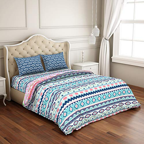 CORE Designed by SPACES Season Best 100% Cotton Blue Double Bed Sheet with 2 Pillow Cover and Double Comforter