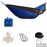 FOME Parachute Fabric Double 2 Person Hammocks Ultralight Camping Hammock Hanging Bed 108 x 57 inch 440lbs Capacity + Free Hammock Tree Hanging Adjustable Straps + FOME Gift