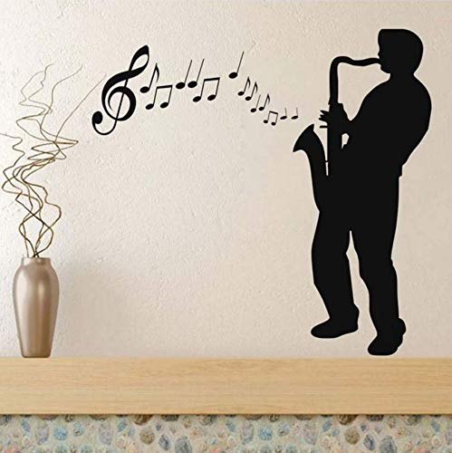 Luzhenyi Silhouette Saxophon Player Aufkleber Diy Abnehmbare Kunst Musik Wandaufkleber Klebstoff Wandbild Haus Dekoration Für Wohnzimmer Musik