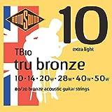 Rotosound TB10 Cordes pour guitare acoustique Bronze 80/20 Extra light (10 14 20 28 40 50)