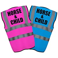 HORSE & CHILD - Hi Vis Hi Viz High Visibility Reflective Safety Vest/Waistcoat   Sapphire/Pink