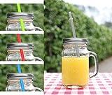 Trinkglas 480ml mit silbernem Deckel und Trinkhalm in 4 Farben - Cocktailglas, Wasserglas