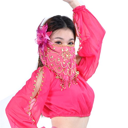 Dance Fairy Dance Team-Bauchtanz-Gesichtsschleier mit Perlen verziert (Rose) (Dance Tänzerin Bh Belly Tanzen)