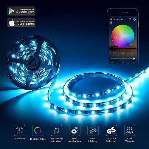Preisvergleich Produktbild LED WIfi Streifen RGB Set LED Strip mit app-gesteuert funktioniert mit Amazon Alexa 5M 300LEDs 5050 EU Stromkabel Wasserdicht IP65