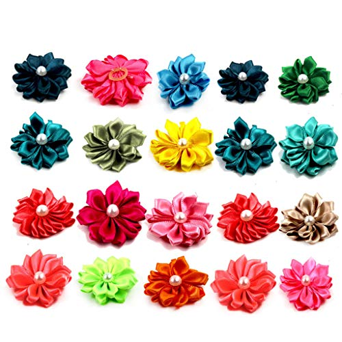 Koobysix Dog Supplies 20 Stück süße kleine Hundehaare Schleife Blume Kunstperlen Topknot Haustier Haar Dekoration Geschenk für Ihren Hund