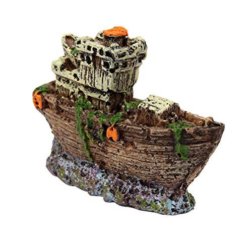 Healifty Mini Piratenschiff Aquarium Ornament Aquarien Dekoration Landschaft Miniatur Harz Deko Garten Miniatur Terrarium Figur Dekoration
