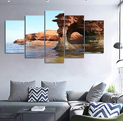 sasdasld 5 Stück Gedruckt Leinwand Malerei Prince Edward Island sandstein bogen Kanada Landschaft wohnkultur druckplakat gerahmte wandkunst-30CMx40/60/80CM -
