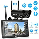 KKmoon Wireless CCTV Camera Kit Home Security DVR System Wireless 2.4GHz 7' TFT Digital LCD Display Monitor 2 Channel Quad DVR + 2 IR Night Vision Waterproof Camera