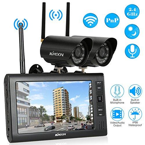 KKmoon Überwachrungskamera mit Monitor Wireless 7Zoll TFT LCD Digitalanzeige 2 Kanal Quad DVR + 2 IR Nachtsicht wasserdicht Kamera unterstützen AV-Ausgang Stimme Überwachung Motion Detection-Aufnahme- (Wireless Kamera überwachung Dvr)