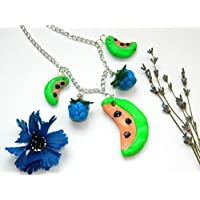 Girl fruit clay necklace baby gift forest berry pendant polymer clay jewelry Watermelon pendant Mini food necklace Blue Green Kids jewelry Girl gift baby girl jewelry Fruit jewelry Girlfriend gift