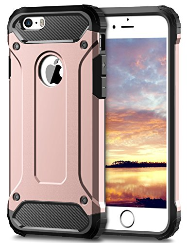 Coolden iPhone SE Hülle, Premium [Armor Serie] iPhone 5S Outdoor Stoßfest Handyhülle Silikon TPU + PC Bumper Cover Doppelschichter Schutz Hülle für iPhone 5/5S/SE (Rosegold)