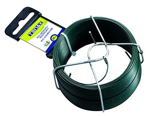 Tenax 06812-Fil di ferro plastificato, 50 m, colore: verde, diametro 1 mm - Del Ferro