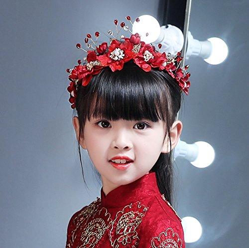 AdornHome Mädchen Kopfschmuck Mädchen Hochzeit Kleid Accessoires Accessoires Kopfschmuck Kopf Flower Girl Performance Kostüm Tanz Kopfschmuck Big (Prinzessin Braut Kleid Kostüm Red)