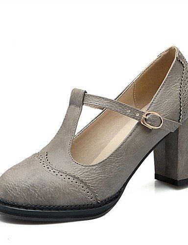 WSS 2016 Chaussures Femme-Mariage / Habillé / Décontracté / Soirée & Evénement-Noir / Jaune / Gris-Gros Talon-Talons-Talons-Similicuir black-us8 / eu39 / uk6 / cn39