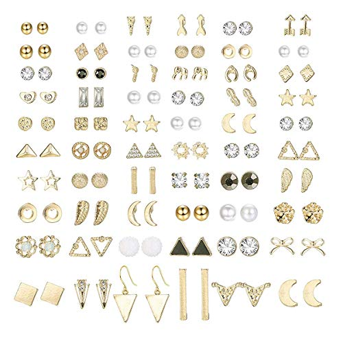 Finrezio 60 Paare Ohrstecker Für Frauen Männer Dreieck Quadrat Kreis Bar Stern Mond Geometrische Blatt Pfeil Bogen Cz Ball Faux Pearl Ohrringe Set Gold