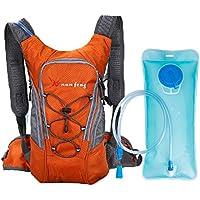 MonoTele Mochila de hidratación impermeable para ciclismo al aire libre + bolsa de agua para ciclismo, ciclismo, running, senderismo, bicicleta, 10 L, naranja