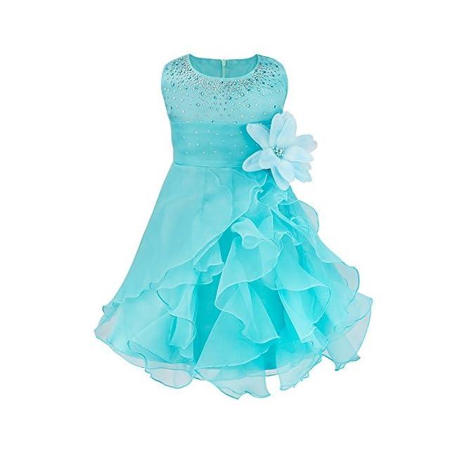 11b902865b1dd YiZYiF Bébé Fille Robe Princesse Robe Baptême Cérémonie Soirée Fleur Tutu  Jupe à Volants Robe sans ...