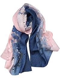 5 ALL Echarpe Foulard Femme Ajouré Couleur de Dégradé Anti uv Coloré En  Soie Coton Laine Grand Foulard Chale Femme… 26f9968012f