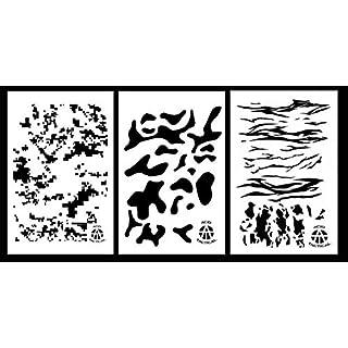 Säure Tactical® 3Pack–23cm x 35cm camouflage Vinyl Airbrush Spray Paint Schablonen Gun (Digital, Multicam, Jag Camo)