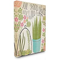 Image of Stupell Industries Good Things Are Wild and Free Houseplants Oversized Stretched Canvas Wall Art, 24 x 1.5 x 30, Proudly Made in USA - Comparsion Tool
