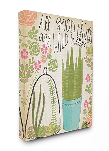 Stupell Industries Good Things Are Wild and Free Houseplants Oversized Stretched Canvas Wall Art, 24 x 1.5 x 30, Proudly Made in USA - Best Price
