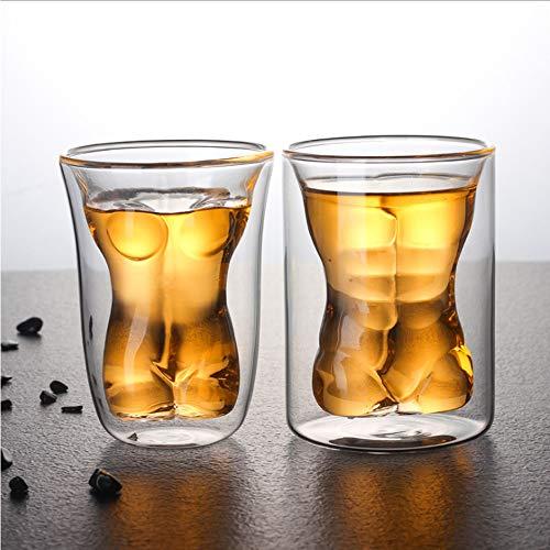 HBLWX Doppelwandige männliche weibliche Schnapsgläser, 2er Pack 3D Clear Crystal Whisky Glas Brandy Tequila Bourbon Scotch und Wodka Clear Crystal Brandy