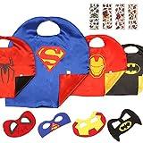 MVPOWER Superhelden Kostüme für Kinder Kinderkostüme inkl. 4 Set Capes und Masken von Superman / Spiderman / Batman / Ironman für Party, Geburtstag, Halloween, Karneval, Fasching