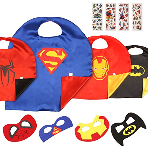 MVPOWER Superhelden Kostüme für Kinder Kinderkostüme inkl. 4 Set Capes und Masken von Superman / Spiderman / Batman / Ironman für Party, Geburtstag, Halloween, Karneval, Fasching (Spider Man Kostüm Kind)