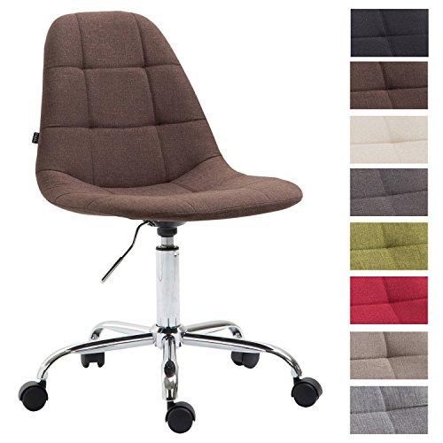CLP Bürostuhl Reims mit Stoffbezug   Schreibtischstuhl mit gestepptem Sitz   Höhenverstellbarer Arbeitsstuhl mit Metallgestell erhältlich Braun
